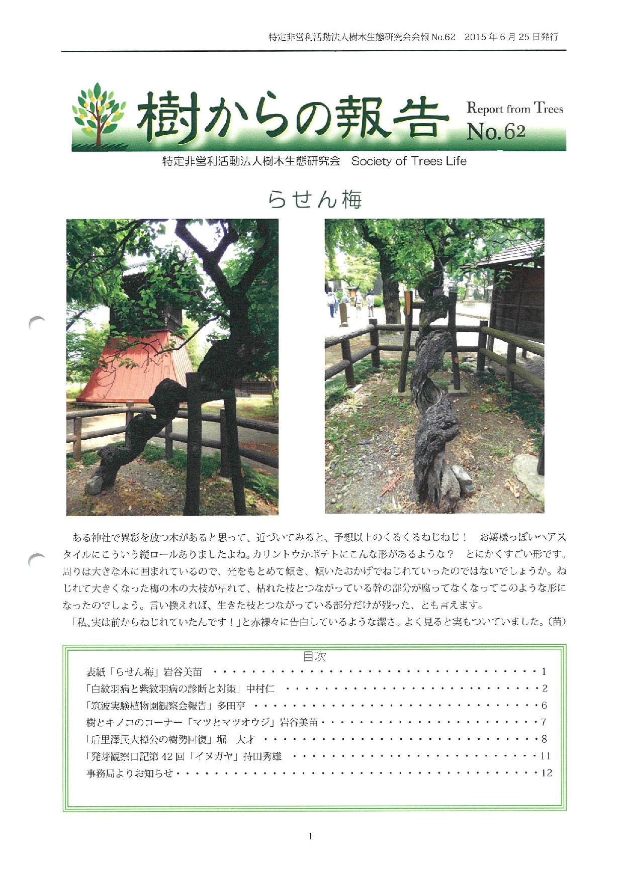 樹からの報告 会報62号