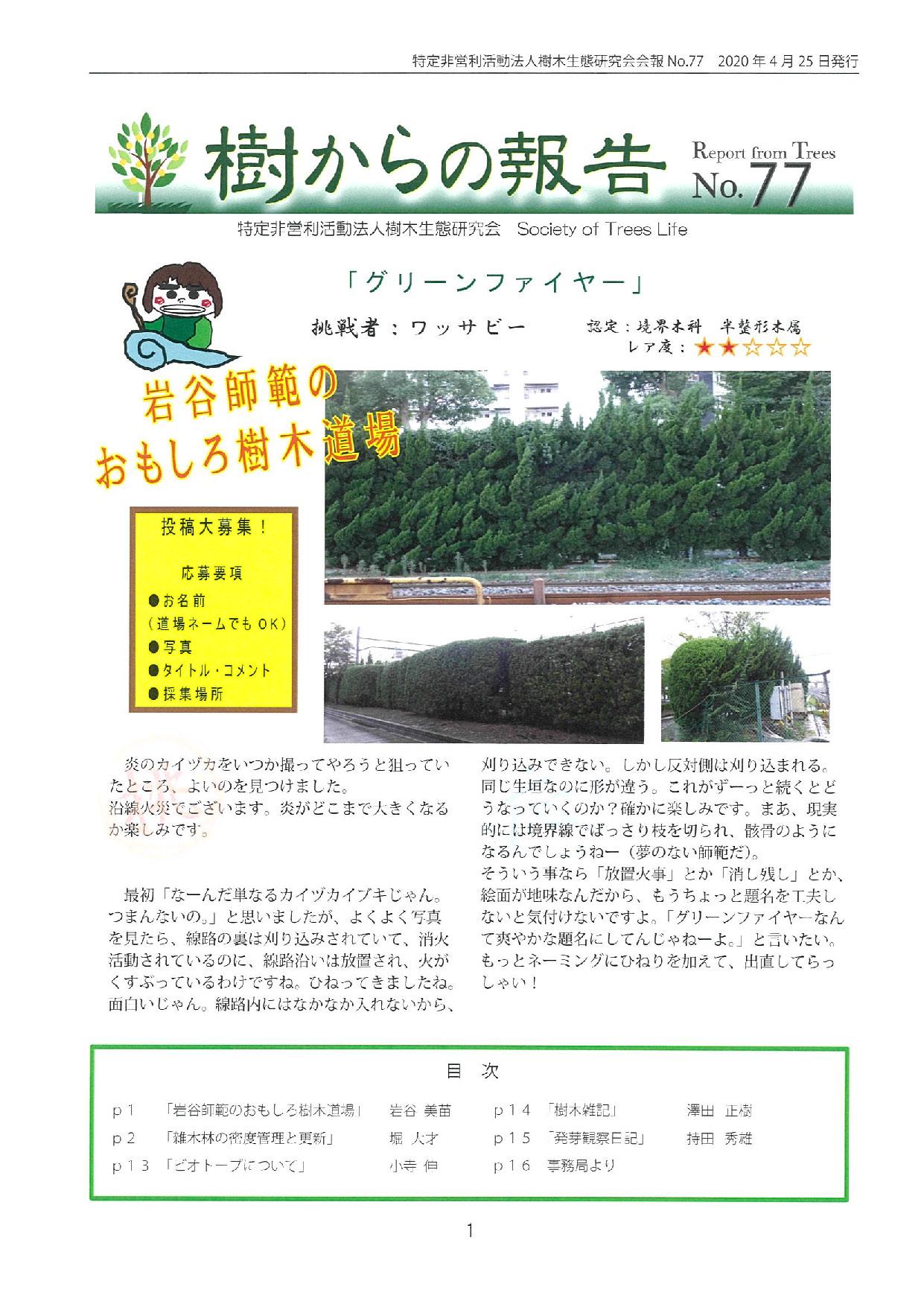 樹からの報告 会報77号